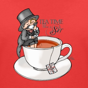 Coral tea time like a Sir with Earl Grey (text) Camisetas - Camiseta con escote en pico mujer