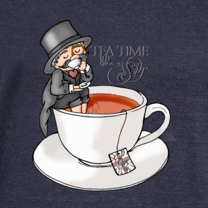 Heather navy tea time like a Sir with Earl Grey (text) Hoodies & Sweatshirts - Women's Boat Neck Long Sleeve Top