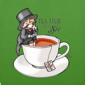 Leaf green tea time like a Sir with Earl Grey (text) Bags & Backpacks - EarthPositive Tote Bag