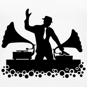 Gramophone DJ, Music, Swing, Bubbles, Records Top - Canotta premium da donna