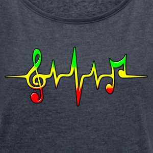 Reggae, music, notes, pulse, frequency, Rastafari  - Frauen T-Shirt mit gerollten Ärmeln
