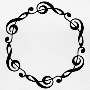 Music notes violin clef frame YOUR TEXT T-shirts - Dame premium T-shirt