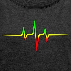 Reggae, music, notes, pulse, frequency, Rastafari Camisetas - Camiseta con manga enrollada mujer