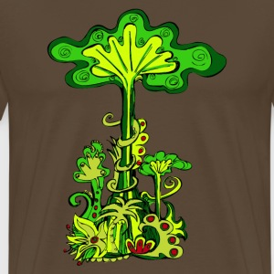 Jungle tree, tropical rainforest, summer, flowers - Men's Premium T-Shirt