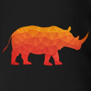 Retro Triangle Origami Rhinoceros / Rhino Shirts - Organic Short-sleeved Baby Bodysuit