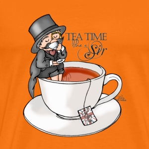 Orange tea time like a Sir with Earl Grey (text) T-Shirts - Men's Premium T-Shirt