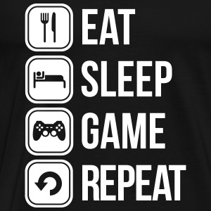 eat sleep game repeat Tee shirts - T-shirt Premium Homme