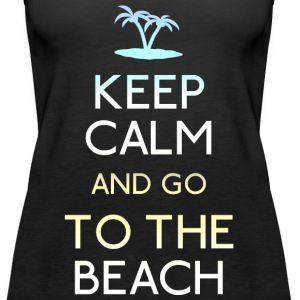 keep calm beach holde rolig strand Topper - Premium singlet for kvinner