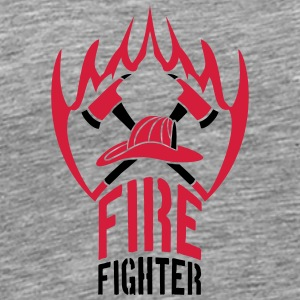 Fire flame helmet 2 axes firefighter T-Shirts - Men's Premium T-Shirt