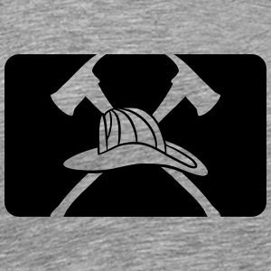 2 axes helmet Fire Department logo T-Shirts - Men's Premium T-Shirt
