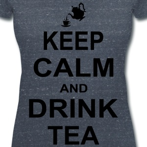 Keep Calm and Drink Tea T-Shirts - Women's V-Neck T-Shirt