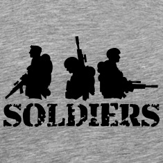 3 soldiers crew friends Heroes team T-Shirts