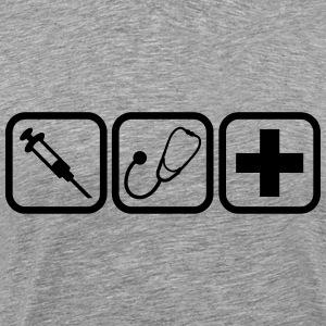 Syringe stethoscope Cross doctor logo T-Shirts - Men's Premium T-Shirt