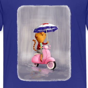 Rainy Scooter Kitty  Shirts - Kids' Premium T-Shirt