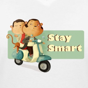 Stay Smart Scooter Monkeys T-Shirts - Women's V-Neck T-Shirt
