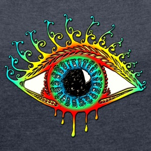 Sun Eye - Symbol Protection & Mental Strength T-Sh - Frauen T-Shirt mit gerollten Ärmeln