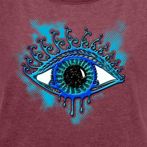 Eye, symbol protection, wisdom, healing & strength T-skjorter - T-skjorte med rulleermer for kvinner