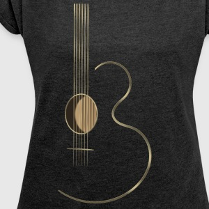 Acoustic Guitar Logo - Women's T-shirt with rolled up sleeves