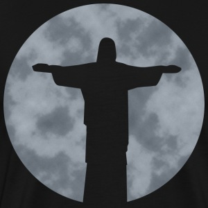 Cristo Redentor in Rio de Janiero in front of moon T-Shirts - Men's Premium T-Shirt