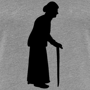 Old granny with a walking stick cane T-Shirts - Women's Premium T-Shirt