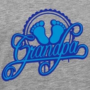 Grandpa baby feet foot footprint stamp T-Shirts - Men's Premium T-Shirt