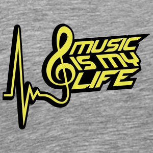 Music Is My Life Puls Musiknote Herzschlag T-Shirts - Men's Premium T-Shirt