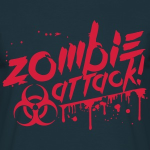 Zombie attaque sang biohazard risque Tee shirts - T-shirt Homme
