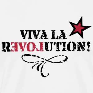 Viva la REVOLUTION, LOVE, Star, Heart, Grunge T-Shirts - Men's Premium T-Shirt