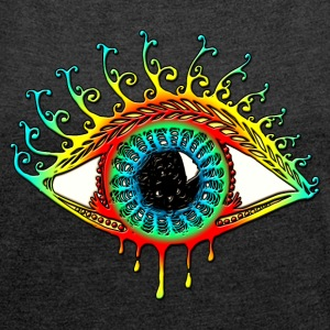 Sun Eye - Symbol Protection & Mental Strength T-Shirts - Frauen T-Shirt mit gerollten Ärmeln
