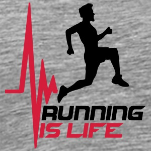 Running is life pulse heart rate frequency T-Shirts - Men's Premium T-Shirt
