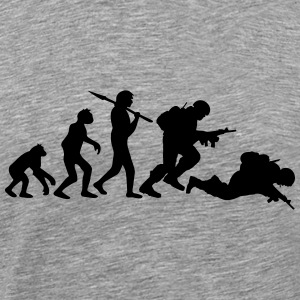 Evolution monkey war dead was stupid Warrior T-Shirts - Men's Premium T-Shirt