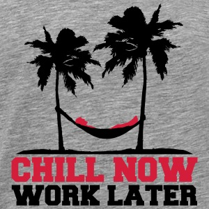 Chill Now Worklater hammock beach palm trees sea T-Shirts - Men's Premium T-Shirt
