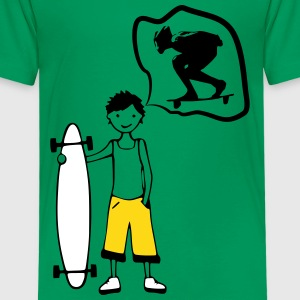 Boy with Board Dream Downhiller T-Shirts - Kinder Premium T-Shirt