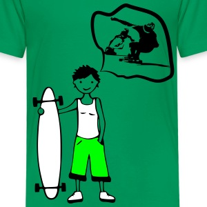 Boy with Longboard dreams to be a Downhill Skater T-Shirts - Kinder Premium T-Shirt