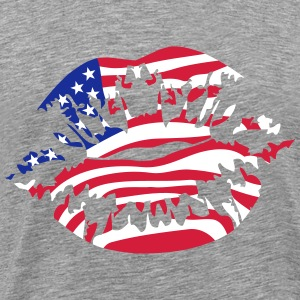 USA America Flag Fan Kiss T-Shirts - Men's Premium T-Shirt