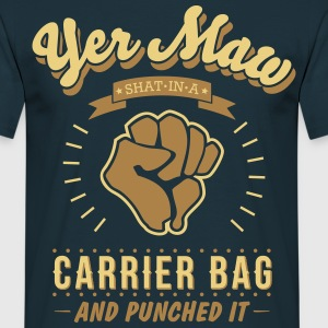 Yer Maw Shat in a Carrier Bag and Punched it -Navy - T-shirt Homme