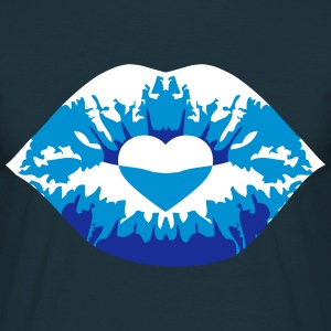 Kissing lips love heart blue T-Shirts - Men's T-Shirt