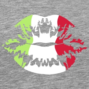 Italy flag football fan kiss T-Shirts - Men's Premium T-Shirt