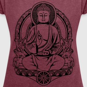 Gautama Buddha Lines T-Shirts - Women's T-shirt with rolled up sleeves