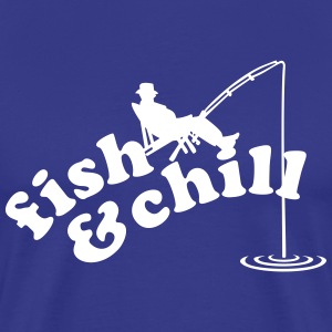 Angler Liegestuhl / fishing in deckchair (b, 1c) T-Shirts - Men's Premium T-Shirt