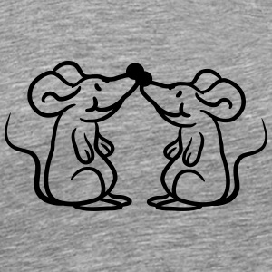 Two mice in love couple pair T-Shirts - Men's Premium T-Shirt