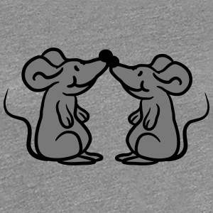 2 mice in love couple couples T-Shirts - Women's Premium T-Shirt