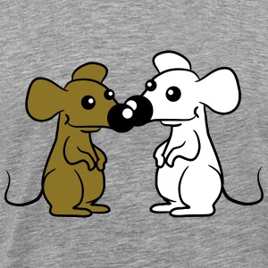 2 Small Cute pair of mice T-Shirts - Men's Premium T-Shirt