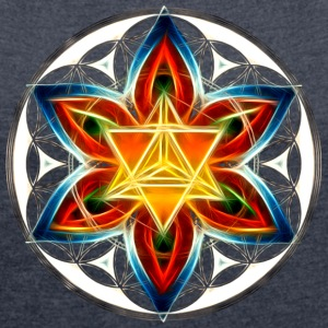 Merkabah, Flower of Life, Sacred Geometry T-Shirts - Women's T-shirt with rolled up sleeves