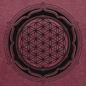 Flower of Life, Sacred Geometry, Yoga, Meditation, Zen, T-Shirts - Women's T-shirt with rolled up sleeves