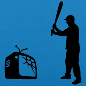 Destroy Your TV - Baseball bat vs. Television Bags & Backpacks - EarthPositive Tote Bag