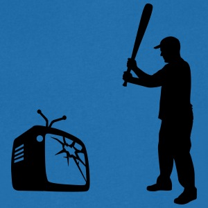 Destroy Your TV - Baseball bat vs. Television T-Shirts - Men's V-Neck T-Shirt