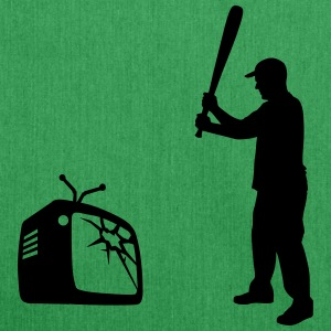 Destroy Your TV - Baseball bat vs. Television Bags & Backpacks - Shoulder Bag made from recycled material