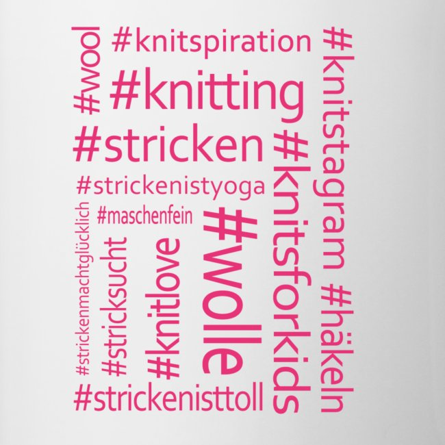 Strick-Hashtags Tasse pink