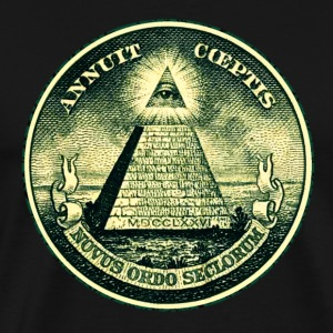 All seeing eye, pyramid, dollar, freemason, god Tasker - Herre premium T-shirt